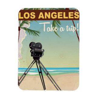 Los angeles vintage camera beach travel poster magnet