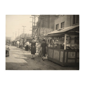 Los Angles California 1935 Olivera Street Photo Wood Wall Art