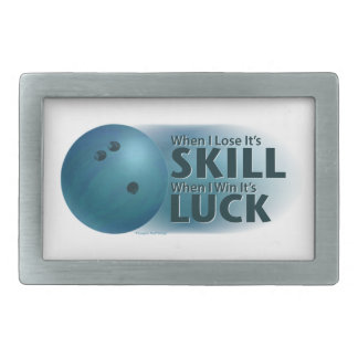 Lose Skill Win Luck Bowling Blue Rectangular Belt Buckle