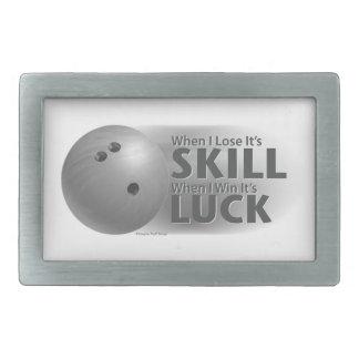 Lose Skill Win Luck Bowling Gray Rectangular Belt Buckles