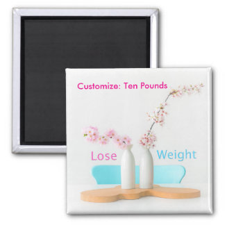 Lose Weight Diet Goals Flowers Square Magnet