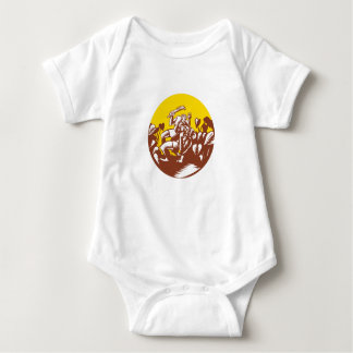 Losi Defeating God Circle Woodcut Baby Bodysuit