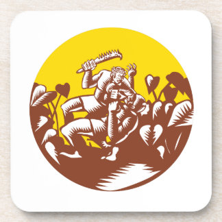 Losi Defeating God Circle Woodcut Coaster