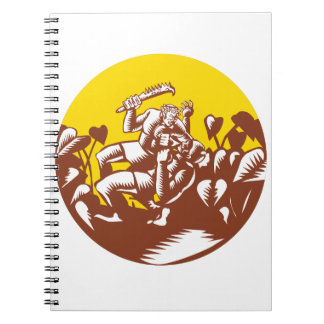 Losi Defeating God Circle Woodcut Spiral Notebook