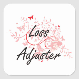 Loss Adjuster Artistic Job Design with Butterflies Square Sticker