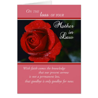 Loss of Mother-in-Law, Red Rose, Religious Card