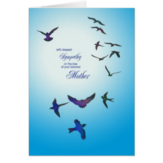 Loss of mother, sympathy card, flying birds card