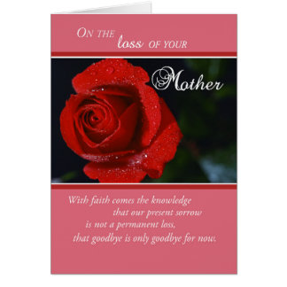 Loss of Mother, Sympathy Red Rose, Religious Card