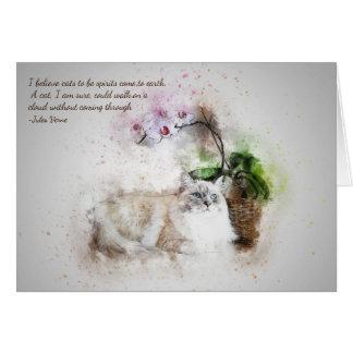 Loss of Pet Cat Jules Verne Quote Custom Sympathy Card