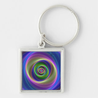 Lost in Infinity Silver-Colored Square Keychain