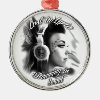 Lost in lyric trippy girl with headphones art metal ornament