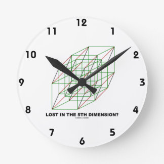 Lost In The Fifth Dimension? (Geometry Cube Humor) Clock