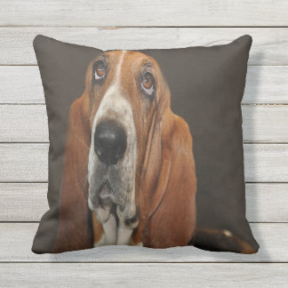 Lost In Thought Basset Hound Throw Pillow