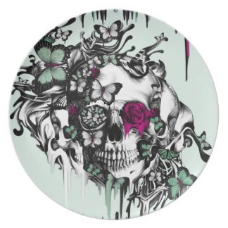 Lost soul mint and pink floral skull dinner plates