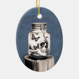 Lost thoughts Nautical skull Ceramic Ornament