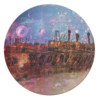LOST TO THE RAVAGES OF TIMEship ship wreck shipwre Party Plate