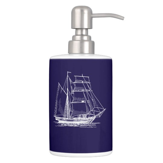 lotion toothbrush  Blue sail boat ship nautical Bath Sets