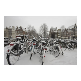 Lots of bicycles in winter in Amsterdam Netherland Poster