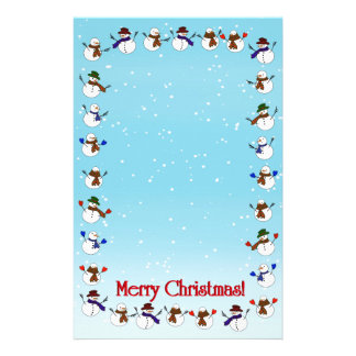Lots of  Christmas Cartoon Snowmen Personalized Stationery