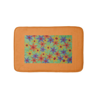 Lots of colorful flowers to brighten up a room. bath mat