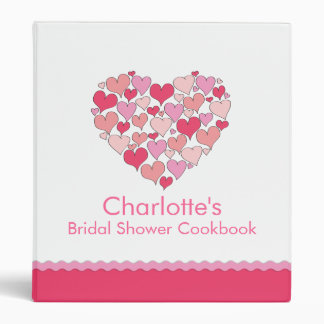 Lots of Hearts Bridal Shower Recipe Cookbook Binder