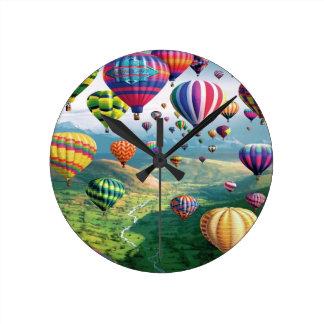Lots of Hot Air Balloons Round Medium Wall Clock