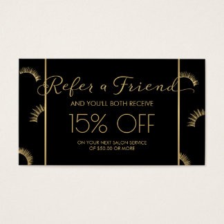 Lots of Lashes Lash Salon Black/Gold Referral Business Card