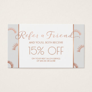 Lots of Lashes Lash Salon Gray/Rose Gold Referral Business Card