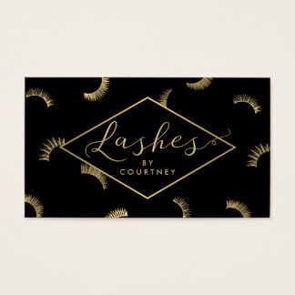 Lots of Lashes Pattern Lash Salon Black/Gold Business Card
