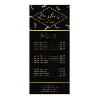Lots of Lashes Pattern Lash Salon Black/Gold Custom Rack Cards