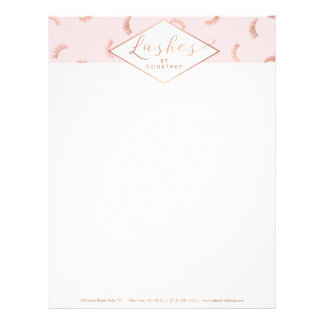Lots of Lashes Pattern Lash Salon Pink/Rose Gold Letterhead