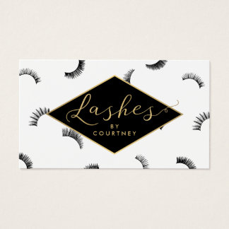 Lots of Lashes Pattern Lash Salon White/Black/Gold Business Card