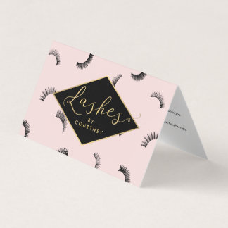 Lots of Lashes Salon Pink/Black Aftercare Business Card
