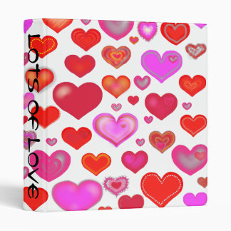 Lots of Love Hearts Cute pink red white 3 Ring Binder