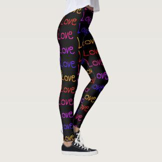Lots of Love, Love, Love - Rainbow on Black Leggings