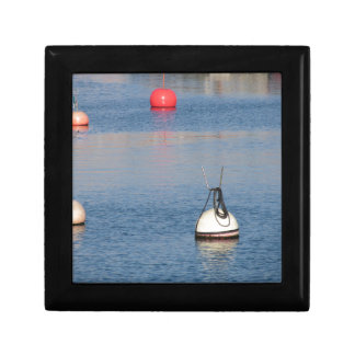 Lots of mooring buoys floating on calm sea water gift box