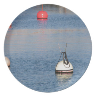 Lots of mooring buoys floating on calm sea water plate
