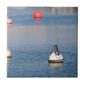 Lots of mooring buoys floating on calm sea water tile