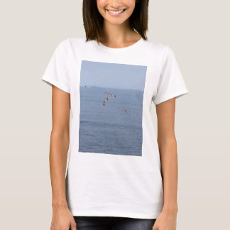 Lots of mooring buoys floating on water in marina T-Shirt