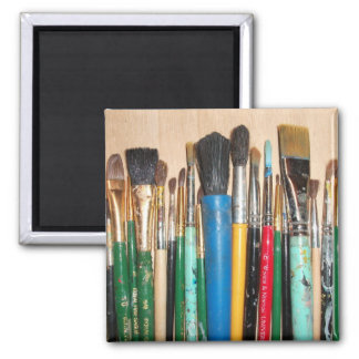 Lots of Paintbrushes Square Magnet