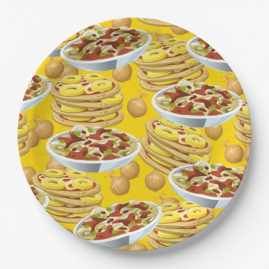 Lots of Pasta and Pizza 9 Inch Paper Plate