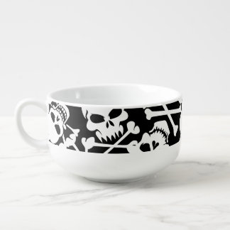 Lots of skulls soup bowl with handle