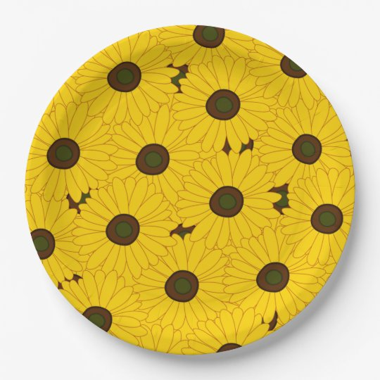 Lots of Sunflower 9 Inch Paper Plate