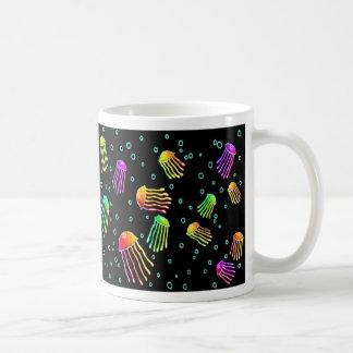 Lots of Vibrant Jellyfish - Neon Night Coffee Mug