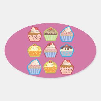 Lotsa Cupcakes Pink Oval Sticker