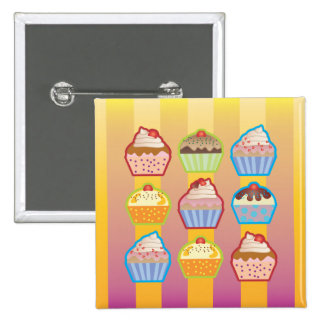 Lotsa Cupcakes Yellowy Pink Stripes Button
