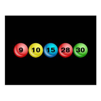 Lottery Balls, 9, 10, 15, 28, 30 Postcard