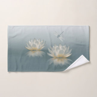 Lotus and Dragonfly Hand Towel