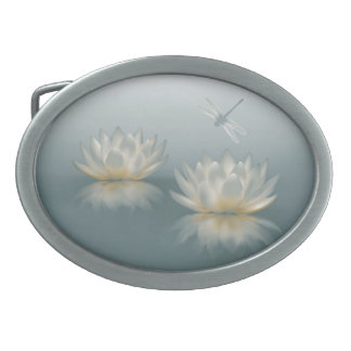 Lotus and Dragonfly Oval Belt Buckle