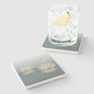 Lotus and Dragonfly Stone Coaster